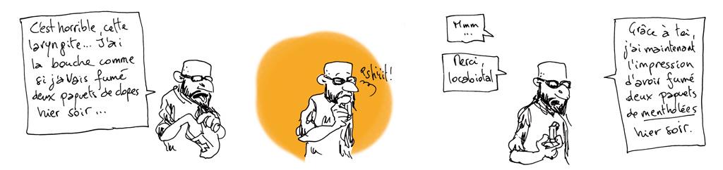 Strip numéro 14, combinant bulletin de santé et réminiscences tabagiques