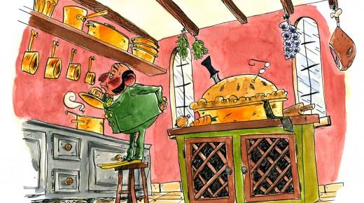 Le Dr Olive, dans la cuisine, avec le poignard