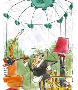 Mme Leblanc, dans la véranda, avec le chandelier